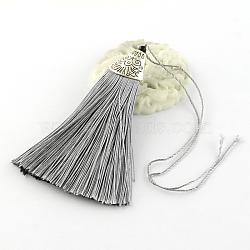 Décorations de pendentif pompon en polyester avec des accessoires en plastique CCB d'argent antique, grises , 80x20x11mm(AJEW-R054-04)