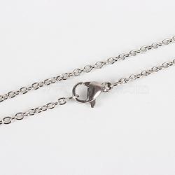 """304 fabrication de collier de chaînes de câble en acier inoxydable, avec fermoir pince de homard, platine, 17.9"""" (45.5 cm)(X-STAS-P045-01P)"""