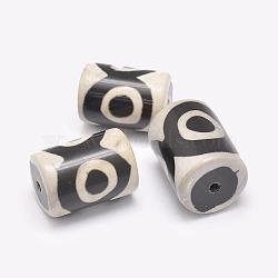 Perles de style tibétain, Perles d'agate naturelles, teints et chauffée, colonne, noir, 20~29x12~17mm, Trou: 2.5~3mm(TDZI-G009-D02)
