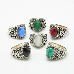 bagues à large bande en verre, avec des résultats d'anneaux d'alliage, ovale, argent antique, taille 7~11, couleur mélangée, 17~21 mm(RJEW-T003-05L)