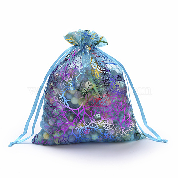 Organza Gift Bags, Drawstring Bags, with Colorful Coral Pattern, Rectangle, Dark Turquoise, 9x7cm(X-OP-Q051-7x9-01)