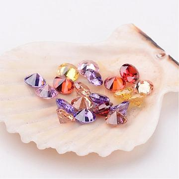 Mixed Grade A Diamond Shaped Cubic Zirconia Cabochons, Faceted, 5x3mm(X-ZIRC-M002-5mm)