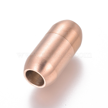 304 Stainless Steel Magnetic Clasps, Frosted, Column, Rose Gold, 19x9mm, Hole: 5mm(STAS-I120-37RG-C)