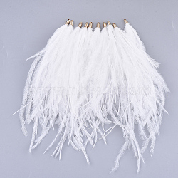 Ostrich Feather Tassel Big Pendant Decorations, with Brass Findings, Golden, White, 130~170x4mm, Hole: 1.6mm(FIND-S302-08A)