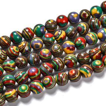 Synthetic Malachite Beads Strands, Dyed, Round, Colorful, 10mm, Hole: 1mm, about 38pcs/strand,  14.96 inches(38cm)(X-G-I199-32-10mm-G)