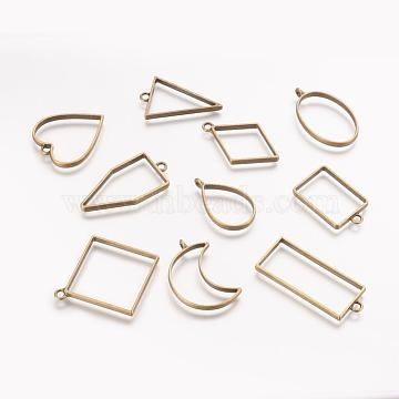 Rack Plating Alloy Open Back Bezel Pendants, For DIY UV Resin, Epoxy Resin, Pressed Flower Jewelry, Mixed Shapes, Antique Bronze, 33~49x20~44x3.5~3.8mm, Hole: 2.8~4mm, 10pcs/set(PALLOY-X0037-02AB)