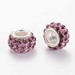 Perles européen avec strass en argile polymère, perles de rondelle avec grand trou , avec platine plaqué noyaux en alliage, améthyste claire, 10~12x7mm, Trou: 5mm(X-CPDL-E038-04)