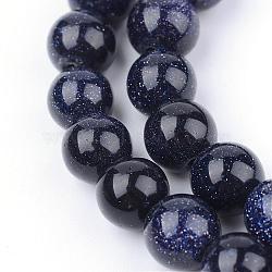 """Chapelets de perles en pierre d'or bleue synthétique, rond, 8~8.5mm, trou: 1mm; environ 47 pcs/chapelet, 14""""(G-Q462-8mm-28)"""