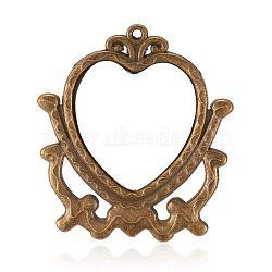 Miroir en verre alliage grands pendentifs, cœur, bronze antique, 54x48x2mm, Trou: 2mm(PALLOY-J280-01AB)