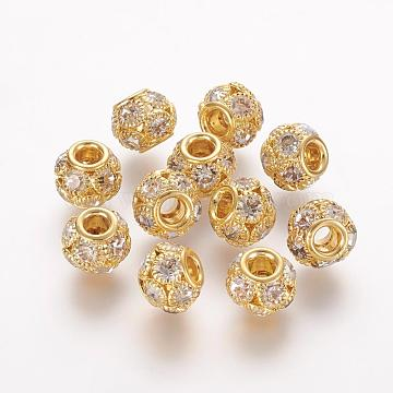 Brass Beads, with Grade A Rhinestone, Rondelle, Golden, Crystal, 12x10mm, Hole: 4mm(RB-K050-12mm-A04)