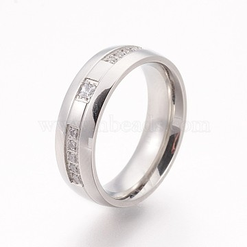 304 Stainless Steel Finger Rings, Wide Band Rings, with Cubic Zirconia, Stainless Steel Color, Size 6~9, 16~19mm(RJEW-A032-02P)