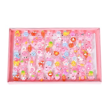 Cute Children's Day Jewelry Plastic Kids Rings for Girls, with Mixed Style Resin Cabochons, Mixed Color, US Size 3(14mm), 100pcs/box(RJEW-S016-M2)