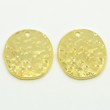 Alloy Blank Flat Round Hammered Pendants, Cadmium Free & Lead Free, Golden, 24x22x1mm, Hole: 2mm(X-PALLOY-M031-07G)