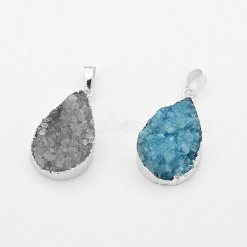 Silver Mixed Color Drop Natural Agate Pendants