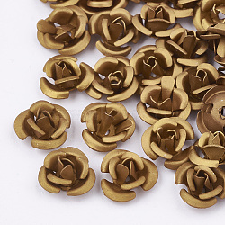 Aluminum Beads, Frosted, Long-Lasting Plated, 3-Petal Flower, DarkGoldenrod, 6x4.5mm, Hole: 0.8mm(X-FALUM-T001-02A-07)