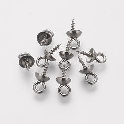304 vis de cheville en acier inoxydable, pour la moitié de perles percées, couleur inoxydable, 10x5mm, trou: 1.5 mm; broches: 1 mm(STAS-L205-18C)
