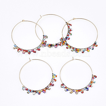 Handmade Japanese Seed Beads Wine Glass Charms, with Brass Hoop Earrings, Golden, Colorful, 42~43x39x2mm; Pin: 0.7mm(SEED-T002-40)