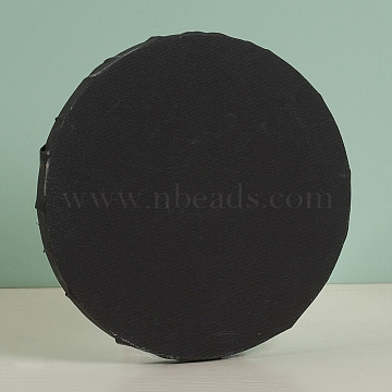 Cotton Wood Primed Framed, Stretch Cotton Board, for Painting Drawing, Flat Round, Black, 20x1.6cm(DIY-G019-03A)