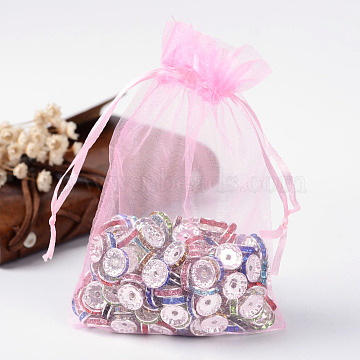 Organza Gift Bags with Drawstring, Jewelry Pouches, Wedding Party Christmas Favor Gift Bags, Pink, 15x10cm(OP-R016-10x15cm-02)