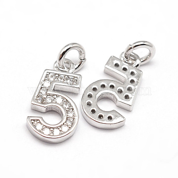 Real Platinum Plated Clear Number Brass+Cubic Zirconia Charms