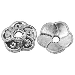 Alloy Bead Caps, Lead Free and Cadmium Free, Antique Silver Color, about 9mm long, 9mm wide, 2.5mm thick, hole: 2mm(X-EA9031Y)