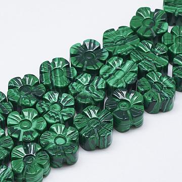13mm Flower Malachite Beads