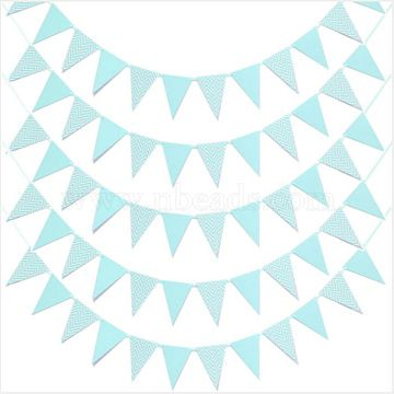 Pennant Banners, Party Decorations Supplies, for Birthday, Festival Celebration, Triangle with Wave Pattern, Light Sky Blue, 17.9x13x0.03cm, Hole: 4.5mm(AJEW-CJC0001-06B)