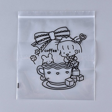 Clear Plastic Zip Lock Bags, Resealable Bags, Top Seal Bags, with Girl Stirs Coffee Pattern, Black, 21.3x18.2x0.02cm(OPP-P001-A-01)