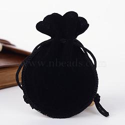 sacs gourde de velours, noir, 9.5x7.5 cm(X-TP-R005-01)