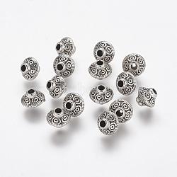 Perles de style tibétain, sans plomb & sans nickel & sans cadmium , Toupie, argent antique, taille: environ 7mm de diamètre, épaisseur de 6mm, Trou: 2mm