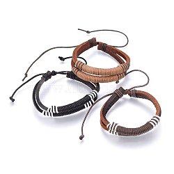 cordon en cuir bracelets multi-brins, avec cordon ciré, couleur mélangée, 2-1 / 8 (5.5 cm) ~ 3-3 / 8 (8.5 cm)(BJEW-F347-04)
