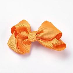 Pinces à cheveux en alligator grosgrain de bowknot, Avec des crochets d'alligator de fer, orange foncé, 40~50x70~82x25~30mm(PHAR-WH0002-A14)