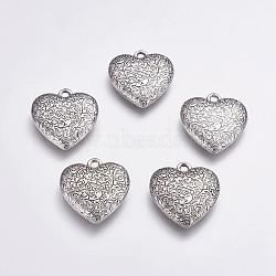Пластмассовые подвески ccb, Сердце со цветками , античное серебро, 32.5x30x7 мм, отверстие : 3 мм(CCB-G006-120AS)