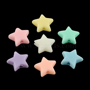 Opaque Acrylic Beads, Star, Mixed Color, 10x10x4mm, Hole: 2mm(X-SACR-S743-19)