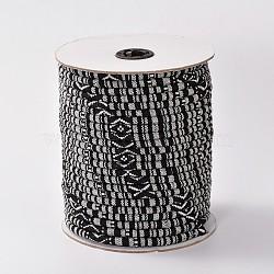 Cordes ethniques en tissu, noir, 4 mm; environ 50 mètres / rouleau (150 pieds / rouleau)(OCOR-F003-4mm-19)