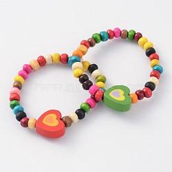 enfants bracelets bracelets élastiques en perles de bois, cœur, couleur mélangée, 50 mm(BJEW-JB02047-05)