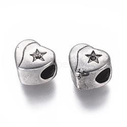 304 réglages de strass de perles européennes en acier inoxydable, grandes perles de trou, coeur avec étoile, argent antique, 10x11x8 mm, trou: 5 mm; apte à 1 mm strass(STAS-I120-84AS)