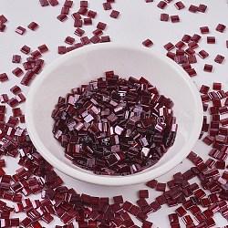 Perles de tila miyuki®, Perles de rocaille japonais, 2-trou, (tl304) grenat lustre doré, 5x4.5x2mm, trou: 0.7 mm; environ 118 pcs / 10 g(X-SEED-J020-TL0304)