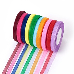 "Ruban d'organza, couleur mixte, 3/8"" (10 mm); 50yards / roll (45.72m / roll), 10 rouleaux / groupe, 500yards / groupe (457.2m / groupe)(ORIB-RS10mmY)"