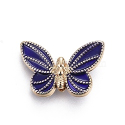 Alloy Beads, with Enamel, Butterfly, DarkBlue, Light Gold, 14x21x5.8mm, Hole: 2mm(X-ENAM-ZH5823-1)