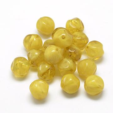 Acrylic Beads, Imitation Gemstone Style, Two Tone Color, Goldenrod, 16x16x16mm, Hole: 1.5~2mm(X-OACR-Q148-AD035)