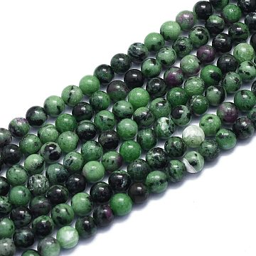 Natural Ruby in Zoisite Beads Strands, Round, 6~6.5mm, Hole: 0.8mm, about 60pcs/Strand, 14.96 inches(38cm)(G-K310-C10-6mm)