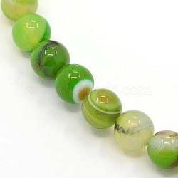 Round, Grade A Dyed Natural Striped Agate/Banded Agate Beads Strands, LimeGreen, 8mm, Hole: 1mm; about 48pcs/strand, 15.2inches