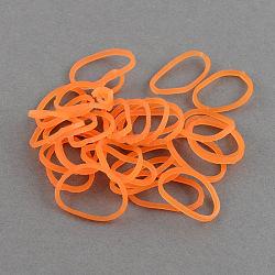 Bandes de métiers à tisser en caoutchouc au néon fluorescent bricolage, orange rouge , 16x1 mm; environ 16000 pcs / 1000 g(DIY-R019-01)