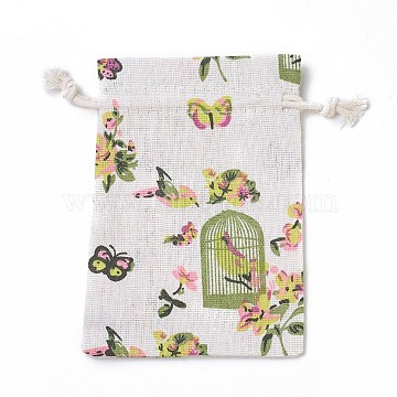 Burlap Packing Pouches, Drawstring Bags, Rectangle with Birdcage Pattern, Colorful, 14~14.4x10~10.2cm(ABAG-I001-10x14-02)