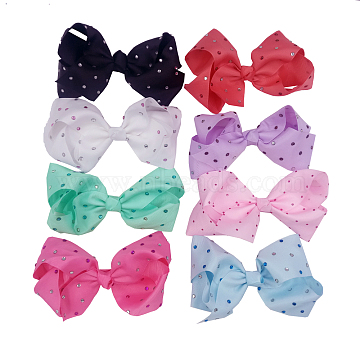 Grosgrain Bowknot Alligator Hair Clips, with Iron Alligator Clips, Acrylic Rhinestones, Mixed Color, 150mm(OHAR-Q051-M)