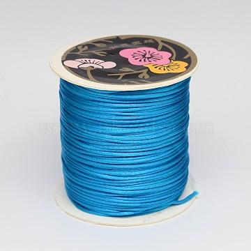 Nylon Thread, Rattail Satin Cord, Deep Sky Blue, 2mm, about 25.15 yards(23m)/roll(LW-K001-2mm-374)