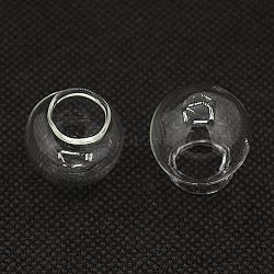Perles de verre soufflées faites à la main, la moitié foré, globe de verre, clair, 22x20mm, trou: 10 mm; diamètre d'ouverture: 11~14 mm(X-BLOW-D003-20mm)