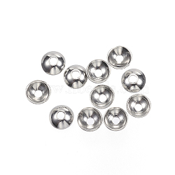 304 Stainless Steel Bead Caps, Round, Stainless Steel Color, 3x1mm, Hole: 0.5mm(X-STAS-F040-20F-P)