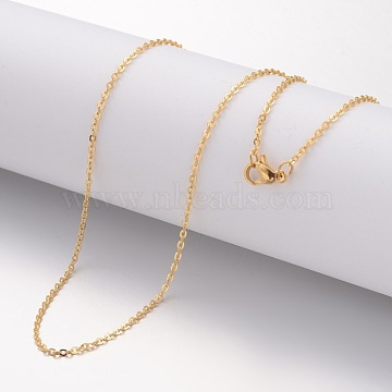 304 Stainless Steel Necklace Making, Cable Chains, with Lobster Clasps, Golden, 17.72 inches(450mm); 1.5mm(X-MAK-K004-17G)